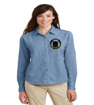 OGA Ladies Long Sleeve Denim Button-up