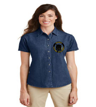 OGA Ladies Short Sleeve Denim Button-up