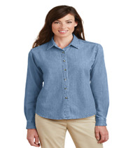 Maxey Ladies Long Sleeve Denim Button-up