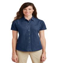 Maxey Ladies Short Sleeve Denim Button-up