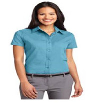 Maxey Ladies Short Sleeve Button-up