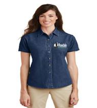 Pinedale Ladies Short Sleeve Denim Button-up