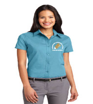 Hungerford ladies short sleeve button-up w/ embroidery