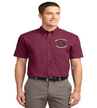 Eagle's Nest men's short sleeve button-up shirt w/ embroidery