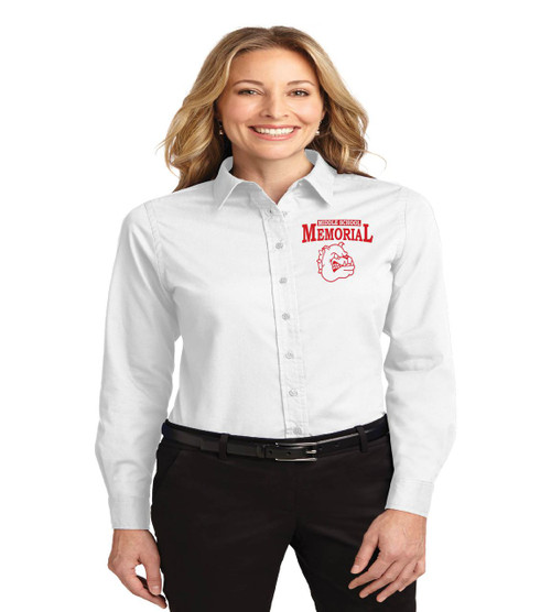 Memorial ladies long sleeve button-up
