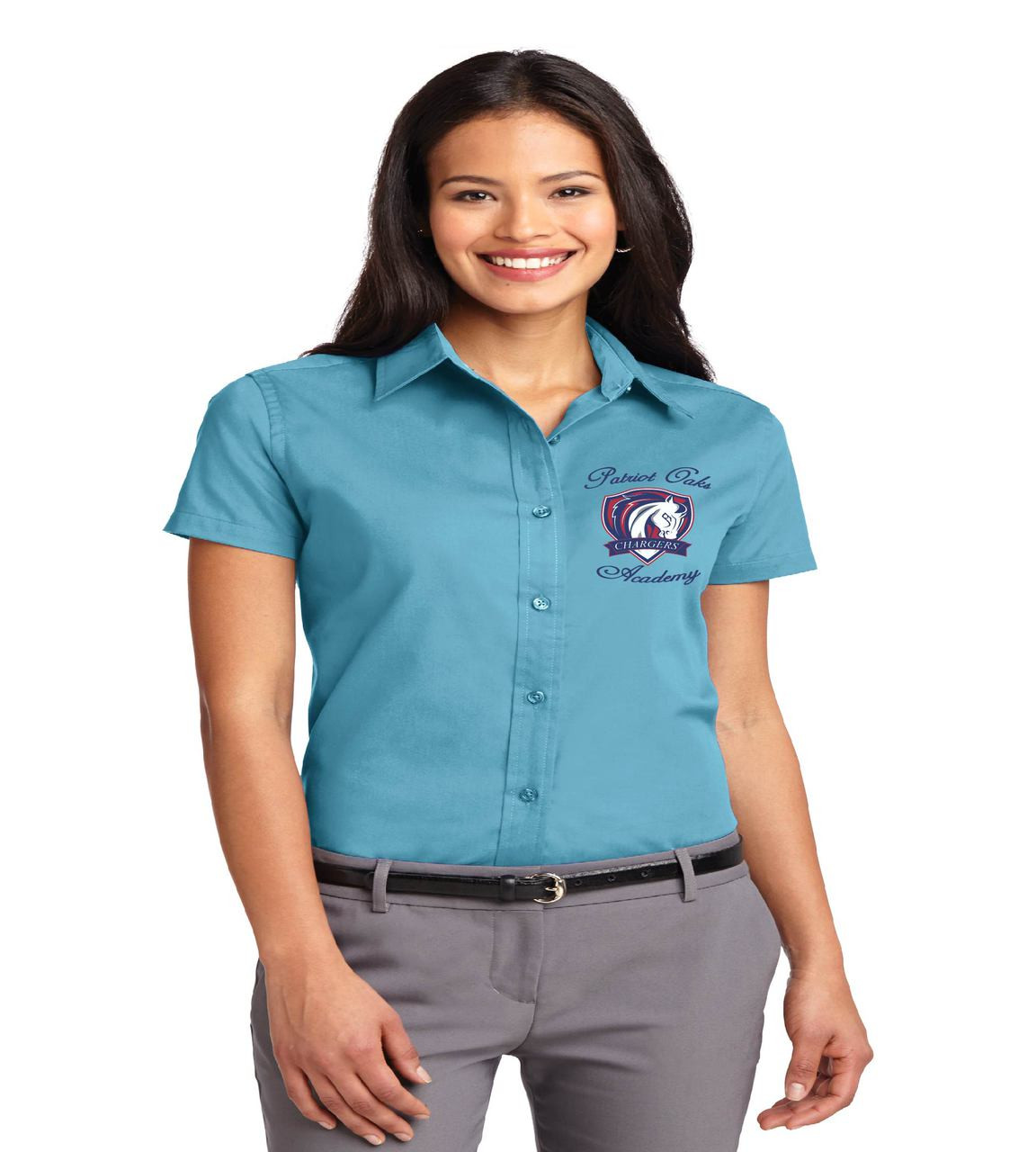 f2a612cb Patriot Oaks Ladies Short Sleeve Button-up - spirit wear