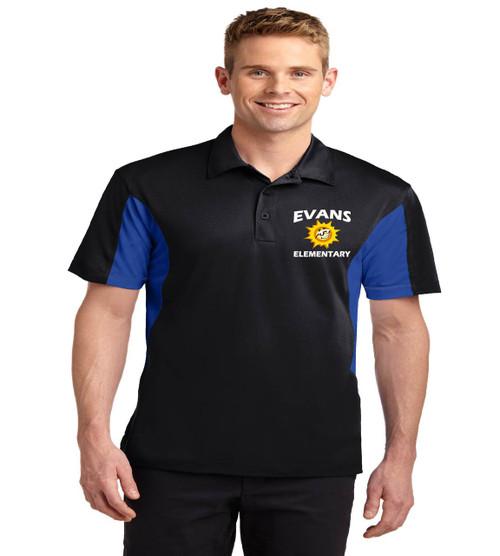 Evans men's color block dri fit polo