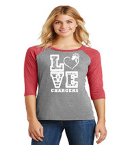 Patriot Oaks Ladies 3/4 Sleeve Raglan