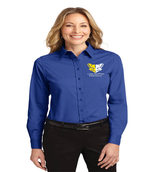 sheffield ladies long sleeve button up