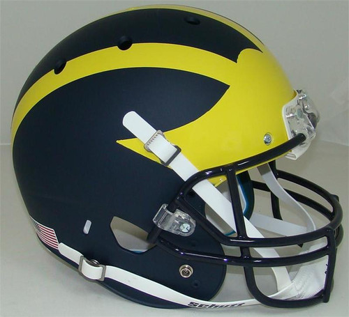 Michigan Wolverines MATTE BLUE Finish Schutt Full Size Replica XP Football Helmet