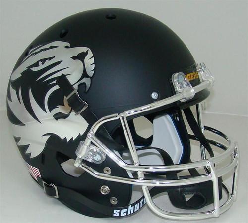 Missouri Tigers Alternate CHROME Matte Black Schutt Full Size Replica XP Football Helmet