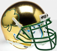 Notre Dame Fighting Irish Alternate Textured Gold, Green Mask, with Shamrock Schutt Mini Authentic Helmet