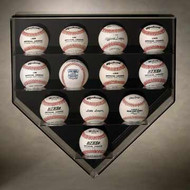 ACRYLIC 12 BASEBALL HOME PLATE WALL MOUNT DISPLAY CASE