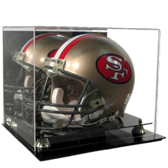 DELUXE FULL SIZE FOOTBALL HELMET DISPLAY with product inside
