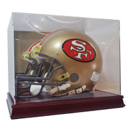 DELUXE FULL SIZE FOOTBALL HELMET WOOD BASE DISPLAY