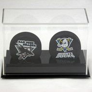 DELUXE DOUBLE HOCKEY PUCK DISPLAY