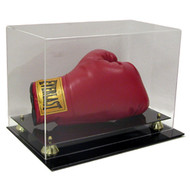 Deluxe Single Horizontal Boxing Glove Display with Gold Risers