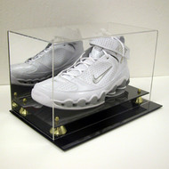 DELUXE BASKETBALL SINGLE SHOE DISPLAY CASE HOLDER to SIZE 15 w/ Gold Risers