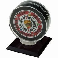 SINGLE HOCKEY PUCK DISPLAY with Black Acrylic Base (12 Total)