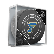 Saint Louis Blues Inglasco Official NHL Game Puck in Cube