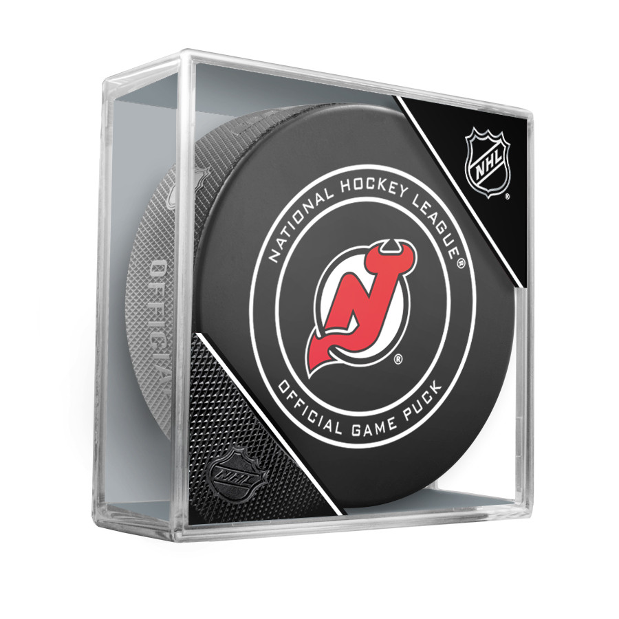 New Jersey Devils Inglasco Official NHL Game Puck in Cube