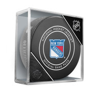 New York Rangers Inglasco Official NHL Game Puck in Cube