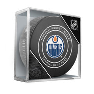 Edmonton Oilers Inglasco Official NHL Game Puck in Cube