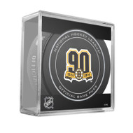 Boston Bruins Special 90th Anniversary (2013-14) Sherwood Official NHL Game Puck in Cube
