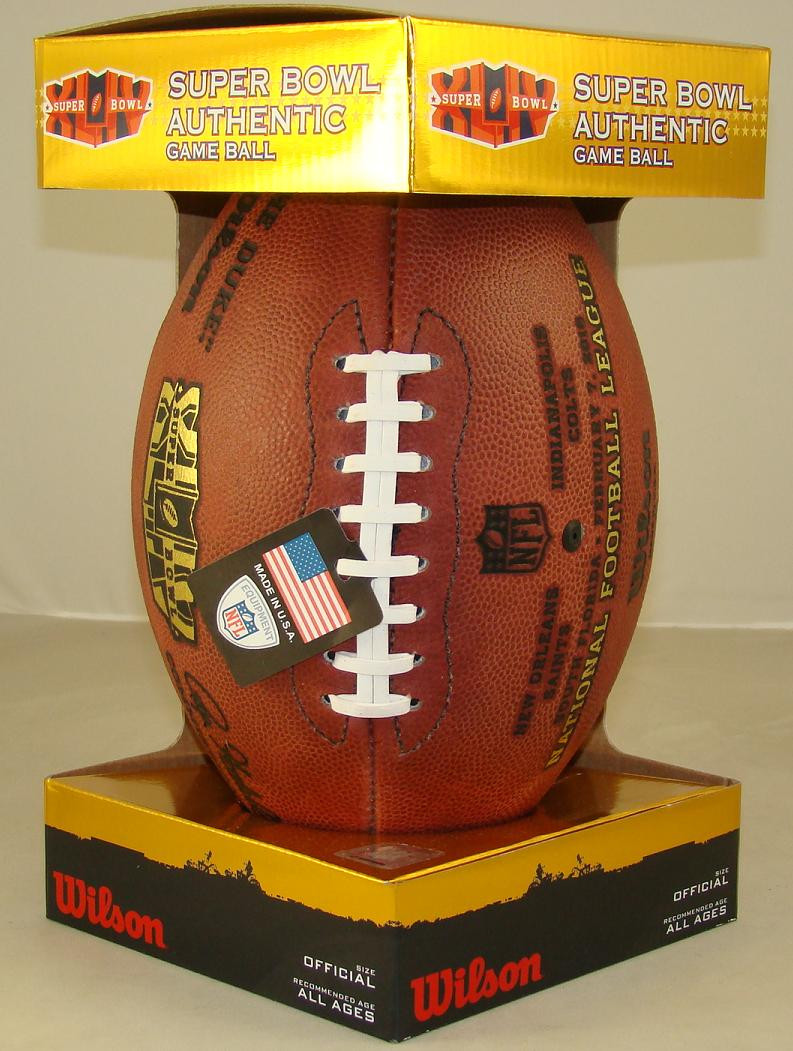 reputable site 691f4 44c73 Super Bowl XLIV (Forty-Four 44) New Orleans Saints vs. Indianapolis Colts  Official Leather Authentic Game Football by Wilson