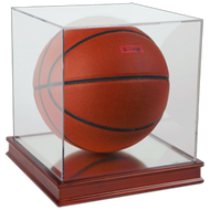 Premium Grandstand Basketball Display with Wood Base & UV Protection
