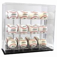 ACRYLIC 12 BASEBALL DISPLAY CASE with Black Base