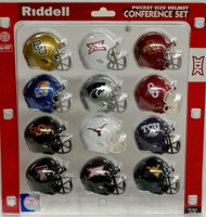 NCAA Big 12 Pocket Pro Speed Revolution Mini Helmets Set by Riddell - 2016 Version