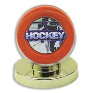 1 DELUXE GOLD BASE HOCKEY PUCK DISPLAY CASES