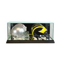 Deluxe Real Glass Double Mini Helmet Display Case