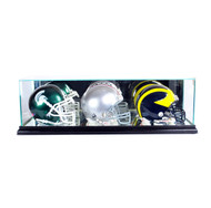 Deluxe Real Glass Triple Mini Helmet Display Case
