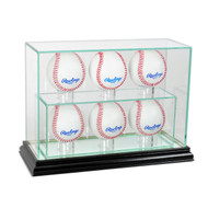 Deluxe Real Glass 6 Baseball UPRIGHT Display Case