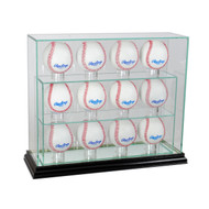 Deluxe Real Glass Twelve Baseball UPRIGHT Display Case