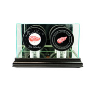 Deluxe Real Glass Double Puck Display Case