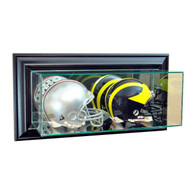 Deluxe Real Glass  Wall Mounted Double Mini Helmet Dispaly Case