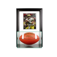 Deluxe Real Glass Wall Mounted Football Display Case with 8 x 10 Display Case