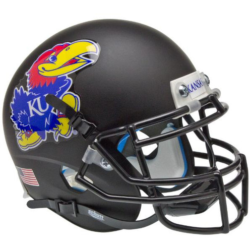 Kansas Jayhawks Alternate Black Schutt Mini Authentic Football Helmet