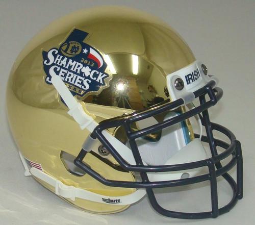 Notre Dame Fighting Irish Shamrock Series Texas 2013 CHROME Schutt Mini Authentic Football Helmet