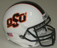 Oklahoma State Cowboys Alternate White with Black Stripe Schutt Mini Authentic Football Helmet