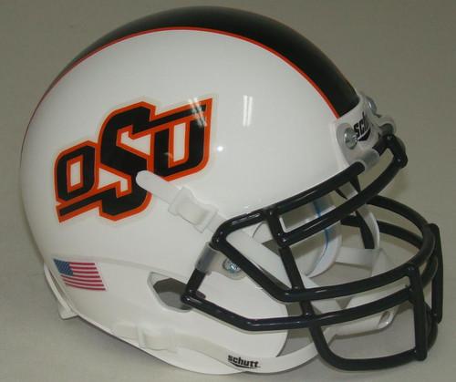 Oklahoma State Cowboys Alternate White with Black Stripe Schutt Mini Authentic Football Helmet