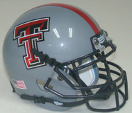 Texas Tech Red Raiders Alternate Gray and Red Stripe Schutt Mini Authentic Helmet