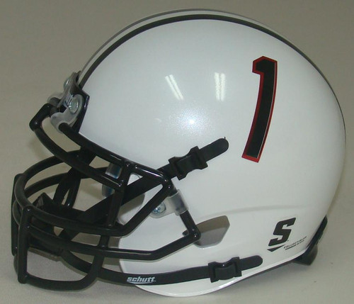 Texas Tech Red Raiders Alternate White and Red Stripe #1 Schutt Mini Authentic Football Helmet