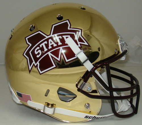 Mississippi State Bulldogs Alternate CHROME Schutt Full Size Replica XP Football Helmet