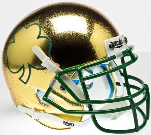 Notre Dame Fighting Irish Alternate Textured Gold, Green Mask, with Shamrock Schutt Full Size Replica XP Football Helmet