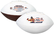 Peyton Manning NFL Career Passing Yards Record Logo Autograph Full Size Football