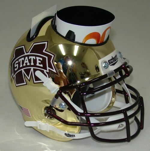 Mississippi State Bulldogs Alternate Gold Chrome Mini Helmet Desk Caddy by Schutt